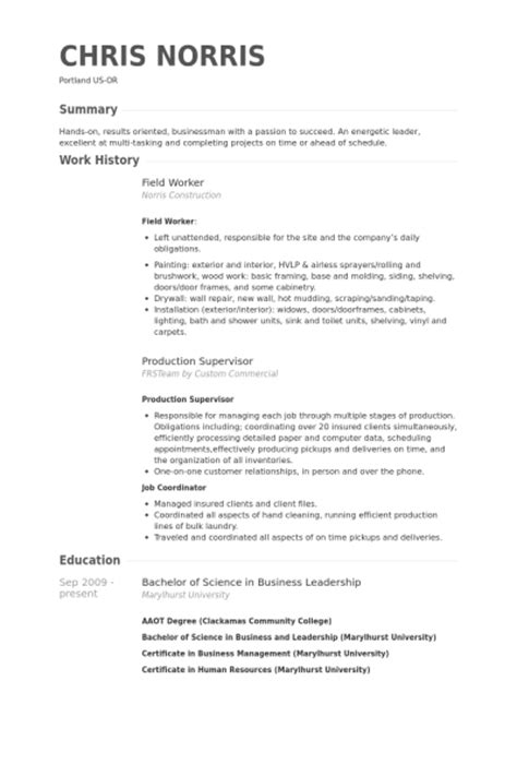 field worker resume sles visualcv resume sles database