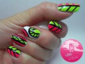 Pink and Green Neon Nails nailart nails polish mani