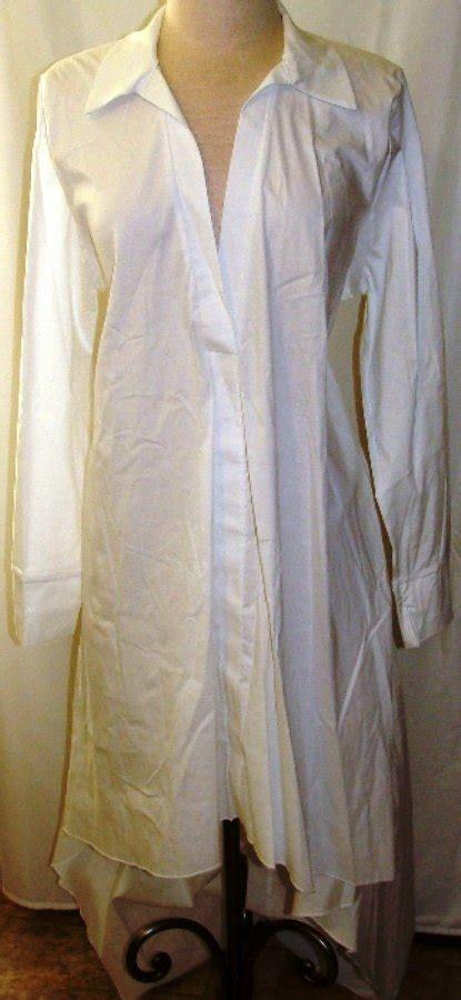 Quum Plus Size White Long Sleeve Hilo Shirt Dress Size X X