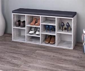 Etagère Et Casier à Chaussures : meuble chaussures blanc b ton avec coussin anthracite ~ Dallasstarsshop.com Idées de Décoration