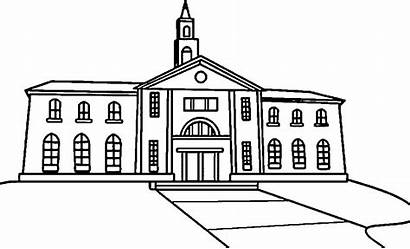 Coloring College Clipart Building Pages Library Insertion