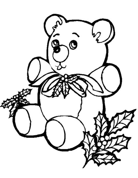 Kleurplaat Teddybeer by Kleuren Nu Beertje Met Kerststukje Kleurplaten