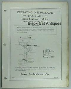1957 Sears Elgin Outboard Owners Manual  Part List For 5 Hp