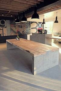 Table Beton Bois : concrete table with wood top tables bois pinterest ~ Premium-room.com Idées de Décoration