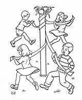 Games Birthday Coloring Sheets Colouring Dance Printable Drawing Pole Maypole Playing Popular Activity Crafts Websites Boy Coloringhome sketch template