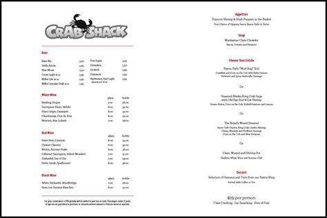 crab shack  princess cruises  menu cruise critic