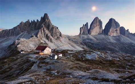 Wallpaper Tre Cime Di Lavaredo Italy Mountains House