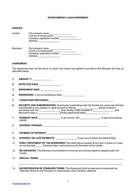 intercompany loan agreement template  rtf