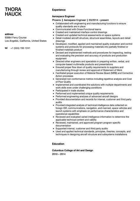 aerospace engineer resume sample velvet jobs