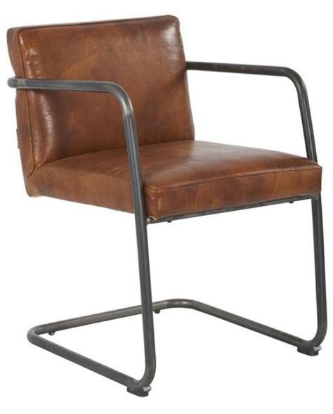 chaise en fer industriel chaise industriel cuir marron structure acier
