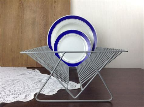vintage kitchen dish drainer plate draining metal rack  light gray coated metal wire display