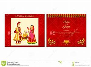 indian wedding invitation card stock vector illustration With indian wedding invitation video templates free download