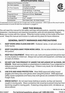 Central Pneumatic Air Compressor 94667 Users Manual