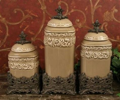tuscan  world drake design large taupe kitchen canisters set   products  love