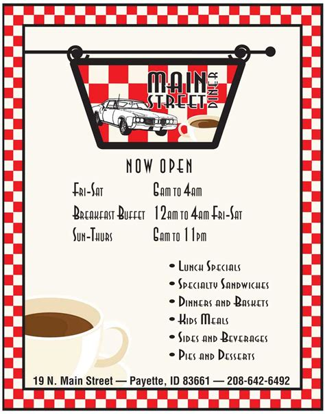 50s Diner Menu Template by 50s Diner Menu Clipart Clipart Suggest