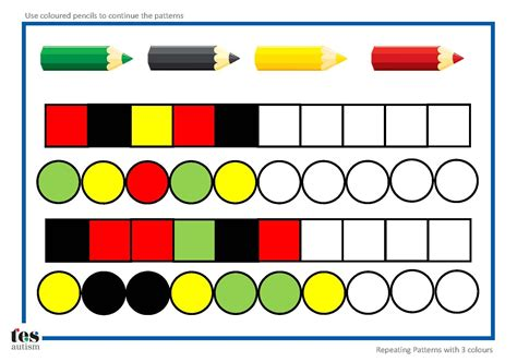 repeating patterns   colours  worksheet activities