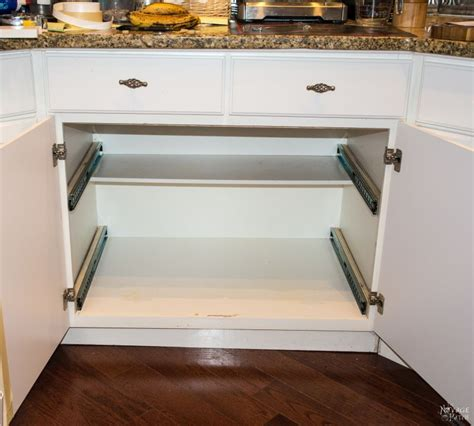 Roll Out Shelves For Kitchen Cabinets by Diy Slide Out Shelves Tutorial The Navage Patch