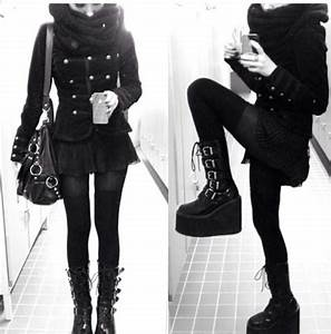 Shoes boots pastel goth jacket emo goth cool all black everything platform shoes short ...