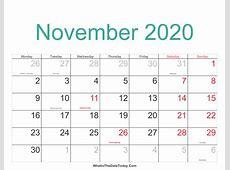 November 2020 Calendar Printable with Holidays