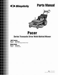 Simplicity Pacer Series Transaxle Parts Manual Drive Walk