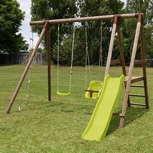 Balancoire Et Toboggan : portique en bois avec toboggan ~ Melissatoandfro.com Idées de Décoration