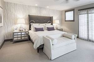 Modern Master Bedroom with Sunpan modern pandora wingback ...