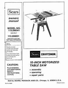 Craftsman 113 298050 Owner S Manual