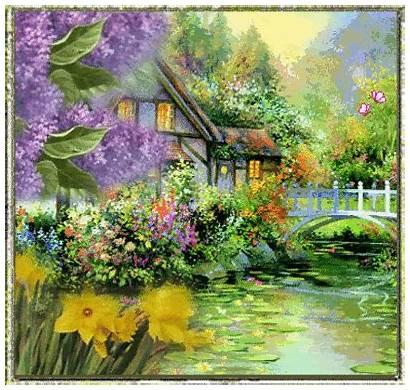 Animated Lake Painting Nature Flowers Gifs Lovethispic