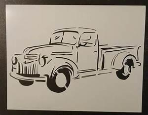 Old Vintage Truck 1 11quot X 85quot Custom Stencil FAST FREE