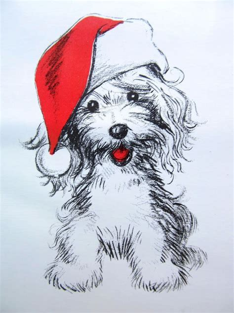 Details About Vintage Christmas Card Mod Puppy