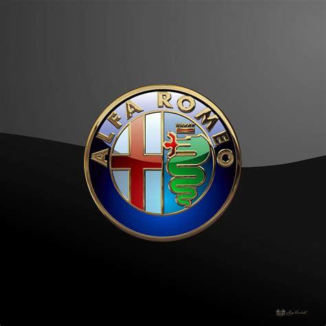 Alfa Romeo Badge by Alfa Romeo 3d Badge On Black Digital By Serge Averbukh