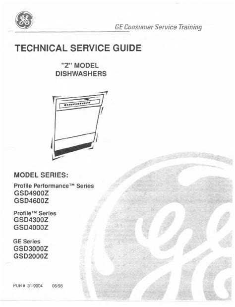ge profile dishwashers repair service manual applianceassistantcom applianceassistantcom