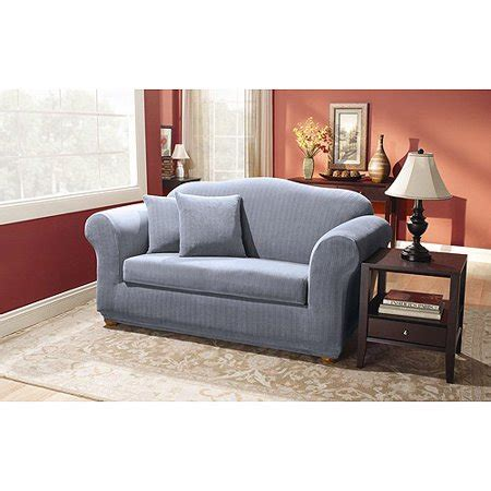 Loveseat Slipcovers Walmart by Sure Fit Stretch Pinstripe 2 Sofa Slipcover