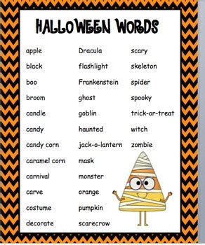 halloween word list  christa swaney teachers pay teachers