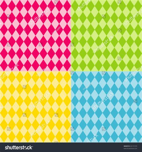 design patterns of four harlequin pattern seamless tiles shapes stock