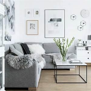 Un salon en gris et blanc c39est chic voila 82 photos qui for Canapé 3 places pour idée déco tableau salon