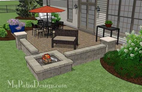 large rectangular paver patio design with pit