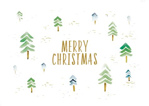 watercolor forest christmas card   island