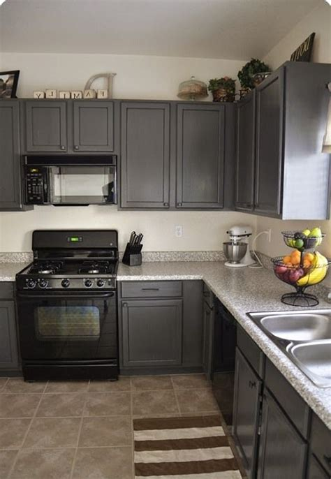 grey and black kitchen cabinets kitchens with grey painted cabinets painting kitchen 6950