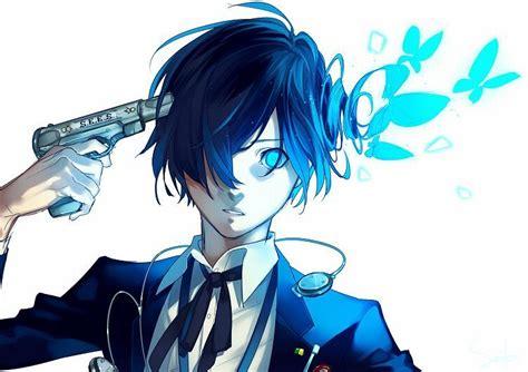 anime boy blue hair blue anime boys