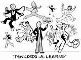 Lords Leaping Days Coloring Ten Imgarcade Credit Larger sketch template
