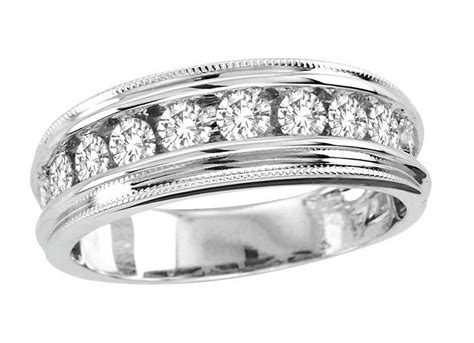 10k Mens White Gold Round Diamond Channel Wedding Band