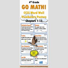 Go Math Word Wall Vocabulary Posters & Student Study Cards