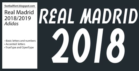 Real Madrid 2018/2019 Season Jersey Font