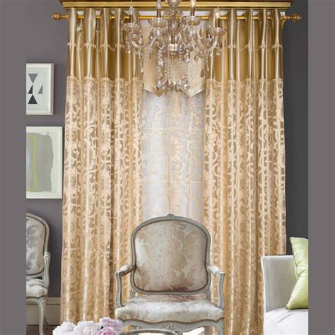 gold curtains living room european style light gold polyester jacquard floral