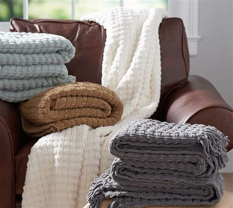 pottery barn throw chenille basketweave throw pottery barn