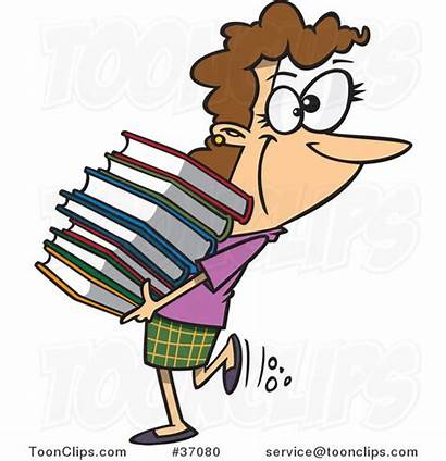 Cartoon Books Stack Carrying Holding Librarian Heavy