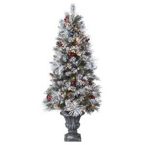 holiday living 5 ft pre lit potted pine artificial christmas tree with clear lights lowe s canada