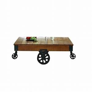 Trent home factory coffee table cart in rustic brown 3228 30 for Rustic dark brown coffee table