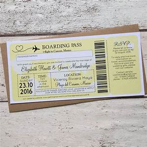 boarding pass travel themed wedding invitation from gbp085 each With free printable travel themed wedding invitations